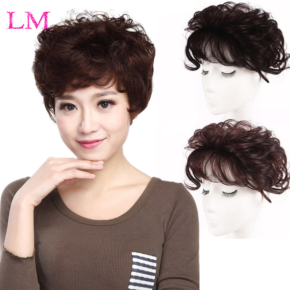 LM Short Women Hair Wig Toupee Thin Skin Natural Hair Topper Party Hairpiece Topper HairPiece Curly Hair Clip In Hair