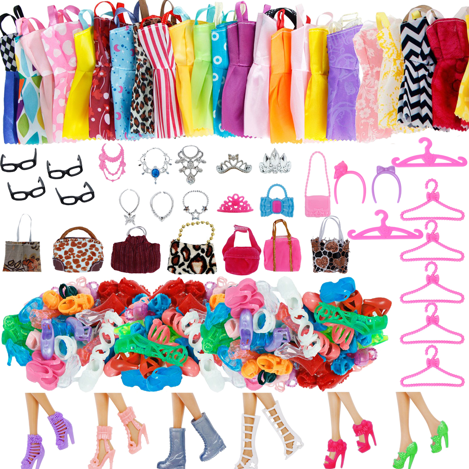 Random 1 Set Doll Accessories for Barbie Doll Shoes Boots Mini Dress Handbags Crown Hangers Glasses Doll Clothes Kids Toy 12''|Dolls Accessories| |  - title=