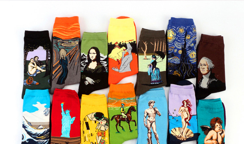 H45e717ecff7247c6940b519d7a24007aW - Classic Autumn Winter Retro Women Personality Art Van Gogh Mural World Famous Painting Female Socks Oil Happy Socks