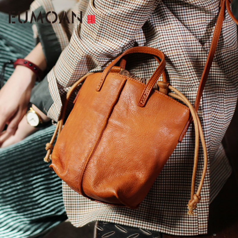 EUMOAN Leather pumping rope bucket bag, soft leather retro national wind casual slant bag, autumn and winter hundred small bag
