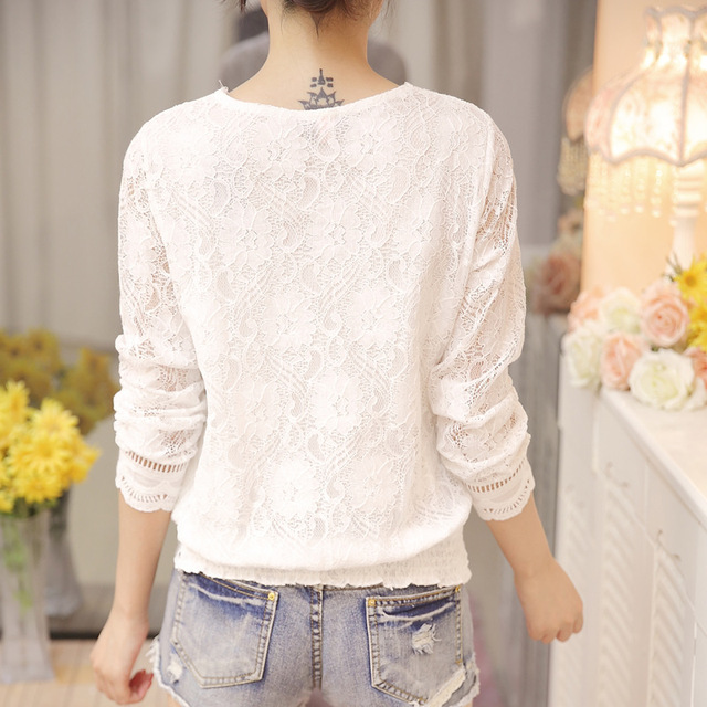 New Arrived Autumn Fashion Women Blouse Long Sleeved Lace Women Top Lace Bottoming Blouses Causal Slim Fit Shirts Blusa 0943 40 3