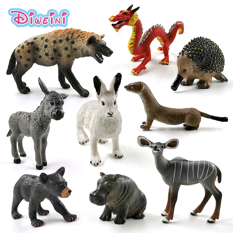 New Hippo Antelope Bear Donkey Mole Otter Rabbit Hyena Chinese Dragon Animal Model Action Figure Educational Toys For Children