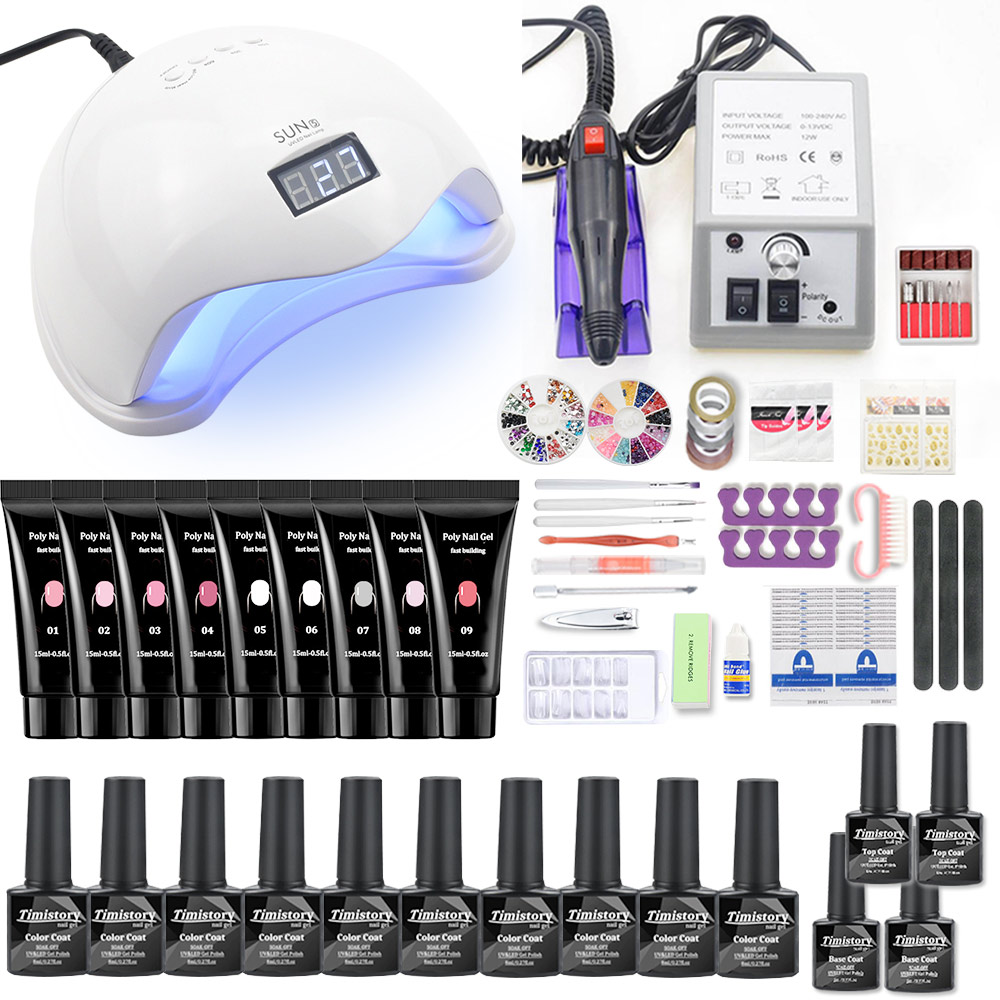 Nail Set Supplies For Professional Kit With Nail Lamp Acrylic Poly Nail Gel Nail Kit Nail Salon Supplies And Tools Nail Art Set