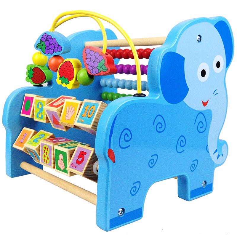 Jouet éducatif pour enfants multi-fonctionnel Animal perle-cordage jouet calcul cadre bébé petite enfance en bois T