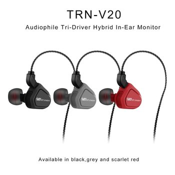 TRN V20 Wired Earphone with Mic. In Ear Headphone Running Sport Earphone DD+BA Hybrid HIFI Earbuds Stereo Bass Headset