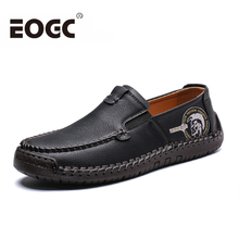Plus Size 48 Comfortable Men Casual Shoes loafers Quality Split Leather Flats Handmade Moccasins Black shoes