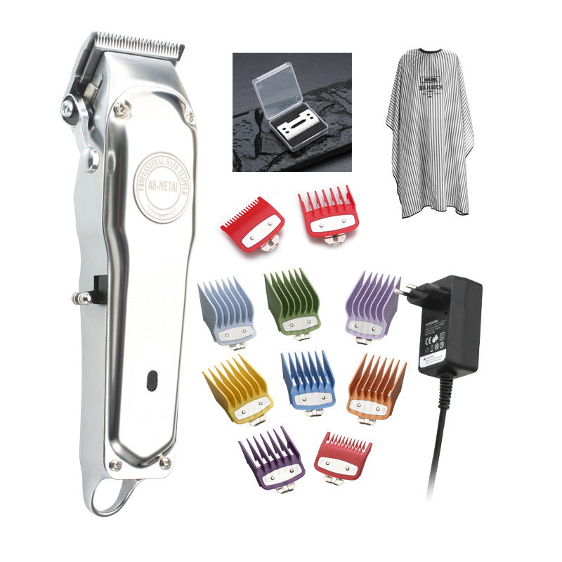 All Metal Rechargeable Hair Clipper With Guide Comb Set And Cutting Cable And Ceramic Blade Barber Hair Trimmer 1919 Wmark