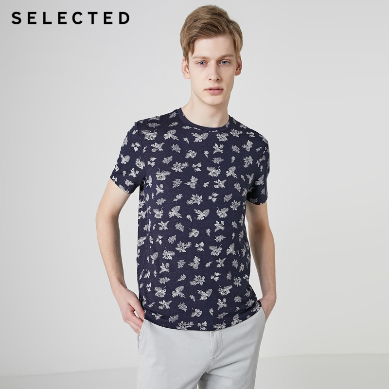 SELECTED Men's Linen Summer Stylish Printed Short-sleeved T-shirt C|419201628