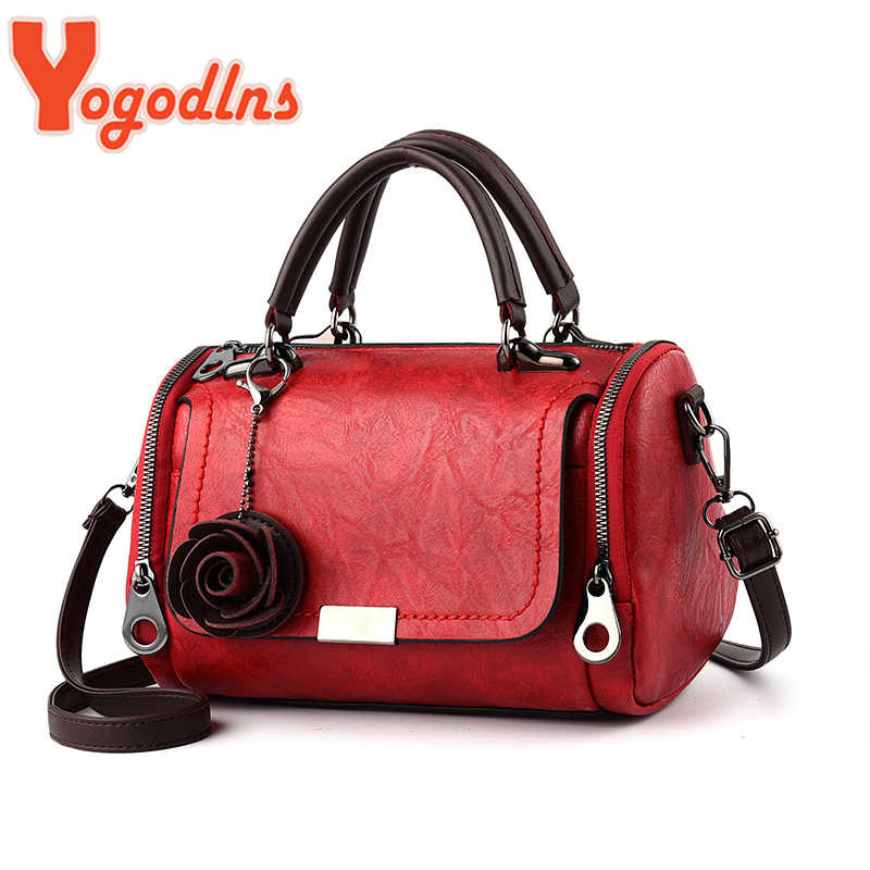 Yogodlns 2020 Baru Bunga Liontin Tas Tangan Women 'S Fashion Boston Tas Single Bahu Tas Wanita Tas Selempang PU Messenger Bag