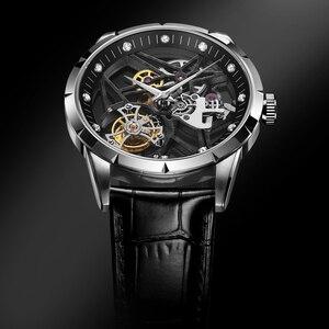 Image 2 - スーパー新モデルオリジナルトゥールビヨンビジネスメンズ腕時計トップブランドの高級スケルトンサファイア時計男性レロジオ masculino