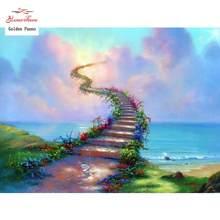 5d diy pintura diamante bela escada cu mar quadrado completo pintura diamante ponto cruz strass