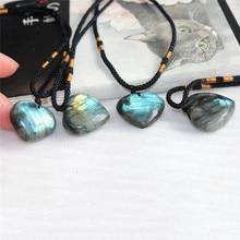 Natural Labradorite Moonstone Ocean Heart Pendant Wrap Braid Necklace Yoga Macrame Choker for Fashion Accessories