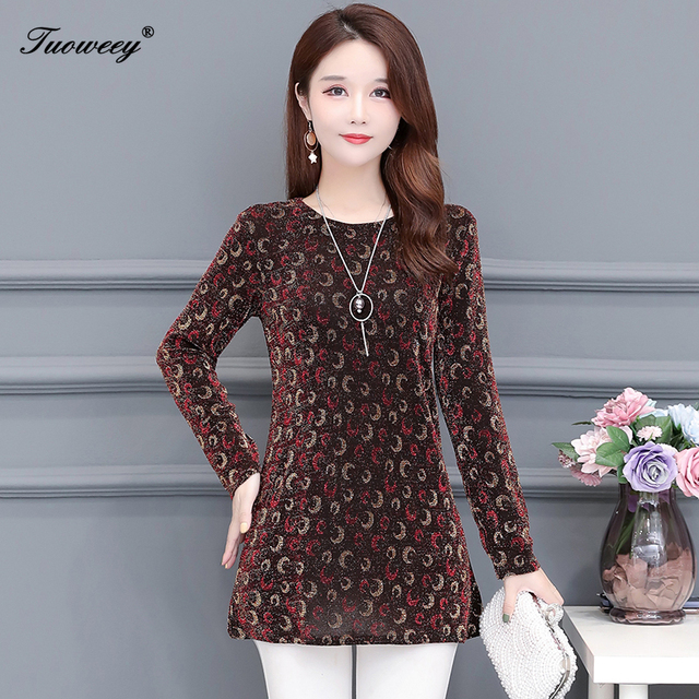 2020 New Women Shirt Floral O-neck Long-Sleeved Printedelegant 5XL Shirt Hot Autumn Spring Female Casual Blouse 2