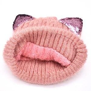 Image 4 - 新しい冬の帽子と冬の子供の帽子子供のための帽子とスヌードガールズボーイズ子供帽子発光猫耳
