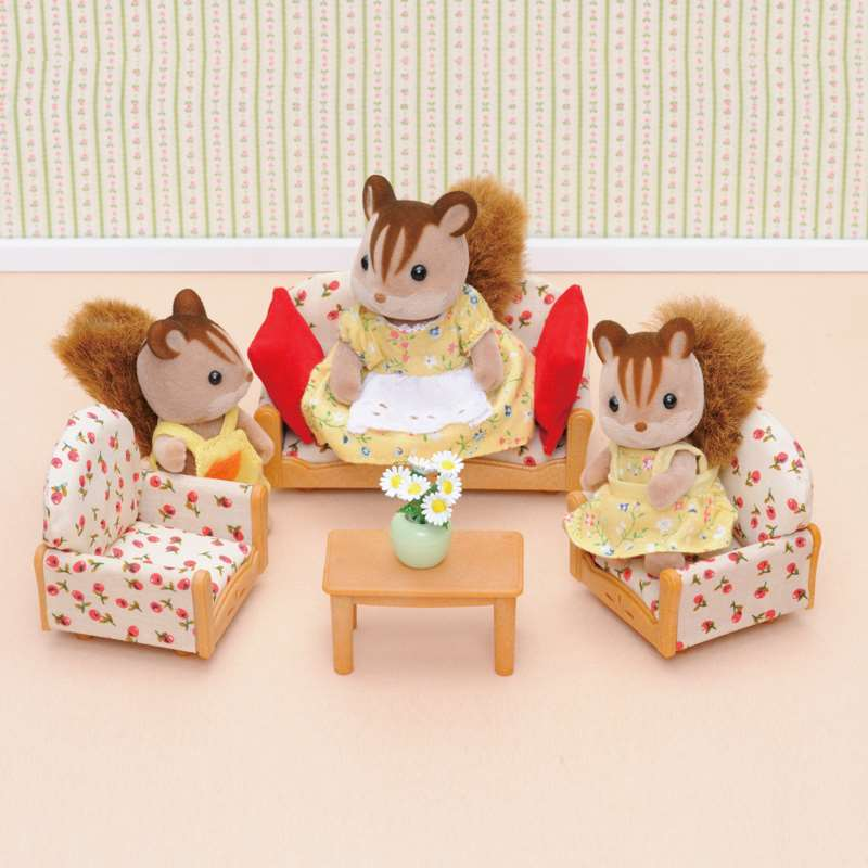 Forest Family 1:12 Mini Doll House Furniture Bathroom Dining Room Kitchen Dedroom Set DIY Christmas Gift Toys