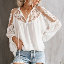 Sexy Lace Mesh Shirt Embroidery Patchwork Women Casual Long Sleeve Tops Chiffon