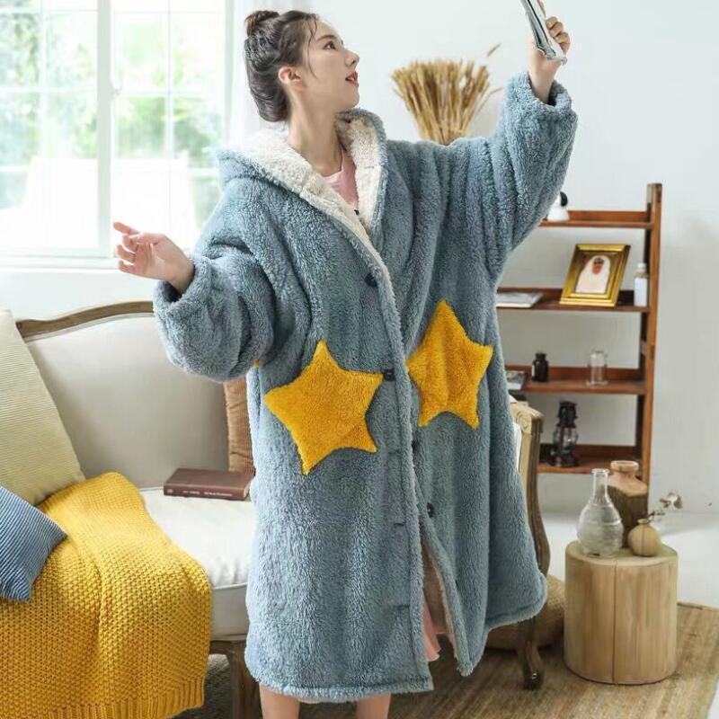Winter-Blanket-with-Sleeve-Hooded-Hoodie-Women-Long-Sweatshirt-Female-Indoor-Pajama-Cardigan-Fleece-Jacket-Fannel. (1)