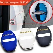 Flyj 4 pçs fechadura da porta do carro fivela capa etiqueta do carro proteger acessórios do carro interior para volkswagen passat b4 b5 b6 b7 b8 cc r36