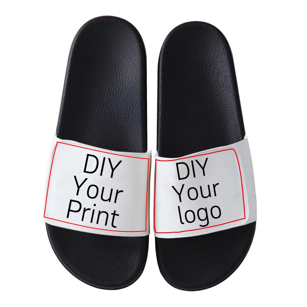Customized Print Sandals Women's Men's DIY Photo Logo Brand Slipper Shoes Lover's Souvenir Store Uniform