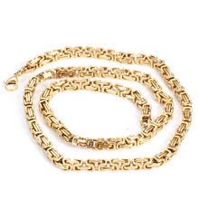 New Fashion Men Stainless Steel Chain Necklace Gold Color Byzantine Punk Necklaces Pendants Male Jewelry Accessories 55CM vnox retro viking spear pendants for men necklaces stainless steel male necklaces tribal style punk necklaces