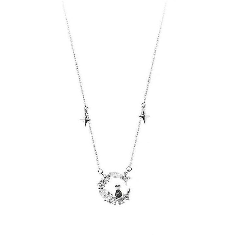 New Arrival Dream Moon Cat 925 Sterling Silver Jewelry Cross Star Tassel Cute Animal Crystal Clavicle Chain Necklaces H21
