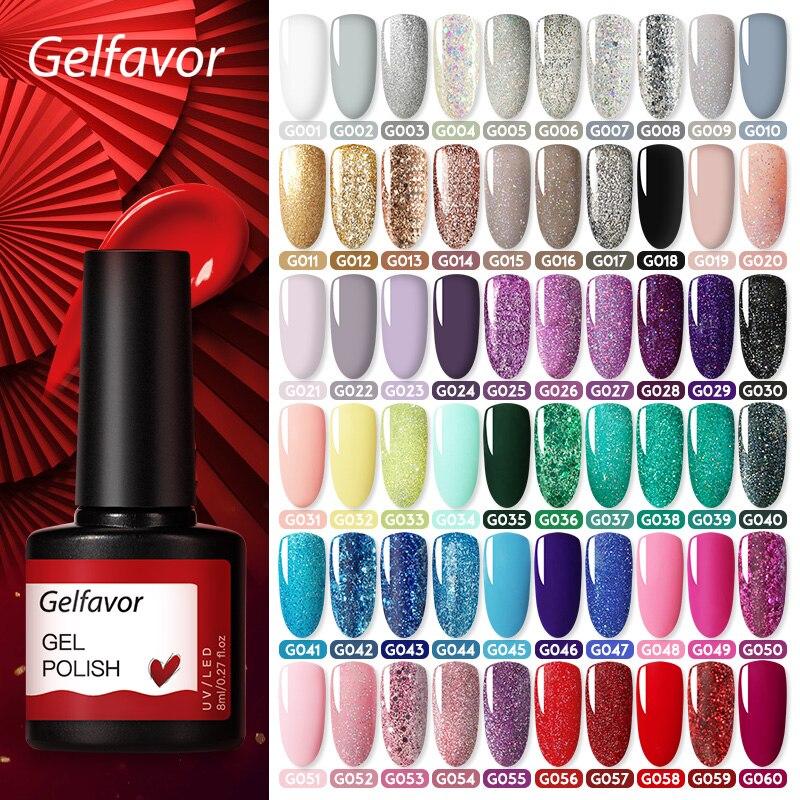 Gelfavor 8ml Gel Nail Polish Glitter For Manicure Set Nail Art Semi Platium UV LED Lamp Nail Varnishes Base Top Coat Gel Lacquer