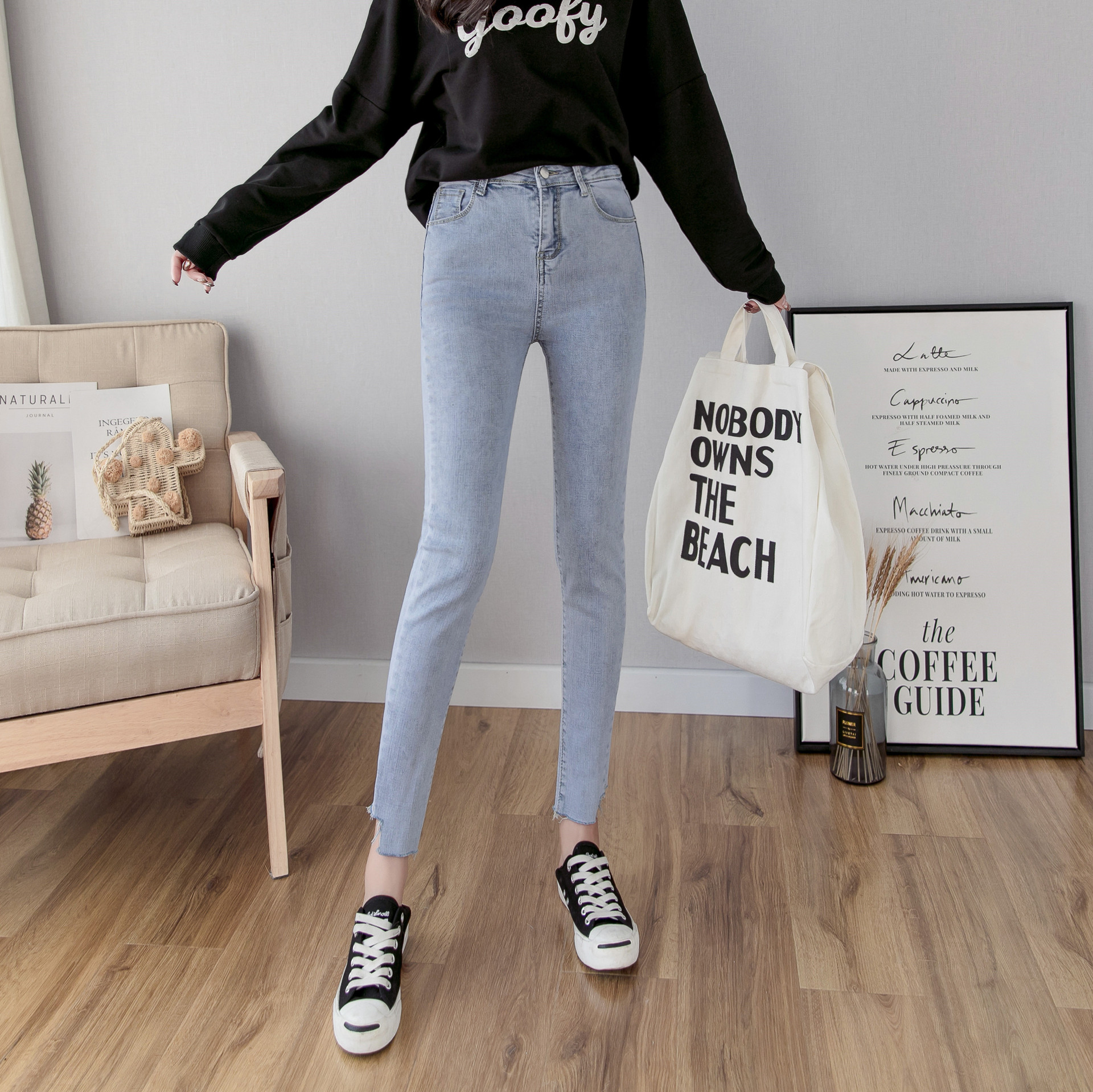 Photo Shoot Yang Mi Light Blue High Waist Jeans Women's Capri 2019 Spring New Style Slim Fit Elasticity Skinny Lead