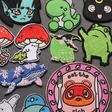 Patch de fer drôle grenouille sur vêtements, patchs brodés Anime mignon Animal Crossing rayures