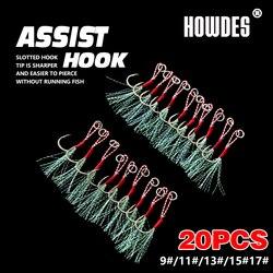 20Pcs Assist Hooks Fishing Hooks Metal Jig Hooks Jigging Spoon Saltwater Fishhook