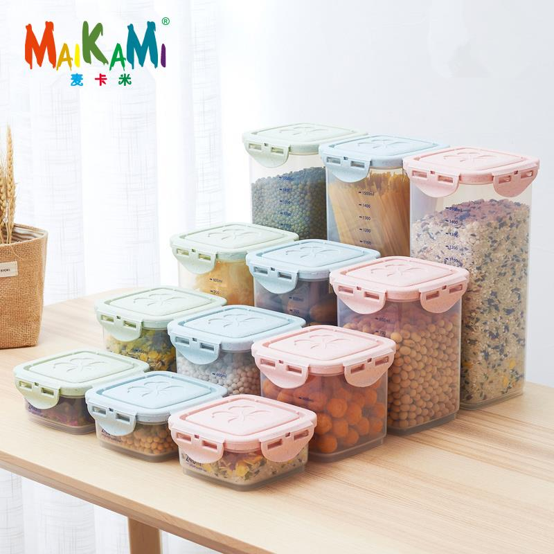 Maikami 주방 하프 플립 식품 보관 상자 저장 탱크 밀폐 플라스틱 용기 거친 곡물 곡물 밀봉 캔