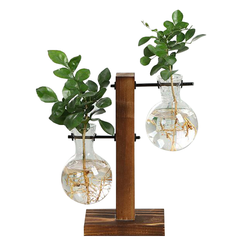 Terrarium Hydroponic Plant Vases Vintage Flower Pot Transparent Vase Wooden Frame Glass Tabletop Plants Home Bonsai Decor
