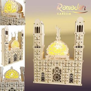 Image 2 - Taoup Place Wooden Ramadan Countdown Calendar DIY Crafts Pendants Eid Mubarak Accessories Ramandan Kareem Muslim Party Favors