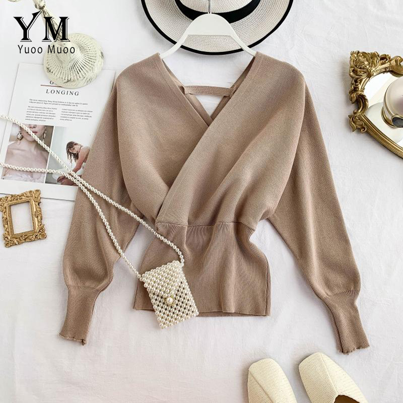 YuooMuoo Good Quality Soft Sweater Women Elegant V Neck Long Batwing Sleeve Knitted Pullover Ladies Outfit Jumper Sweater Top
