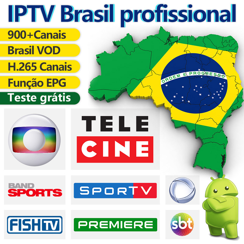 IPTV Brazil Android IPTV Subscription Portuguese IPTV Code H.265 EPG 900+ Live Brasil Channels With Free VOD Brazil IP TV