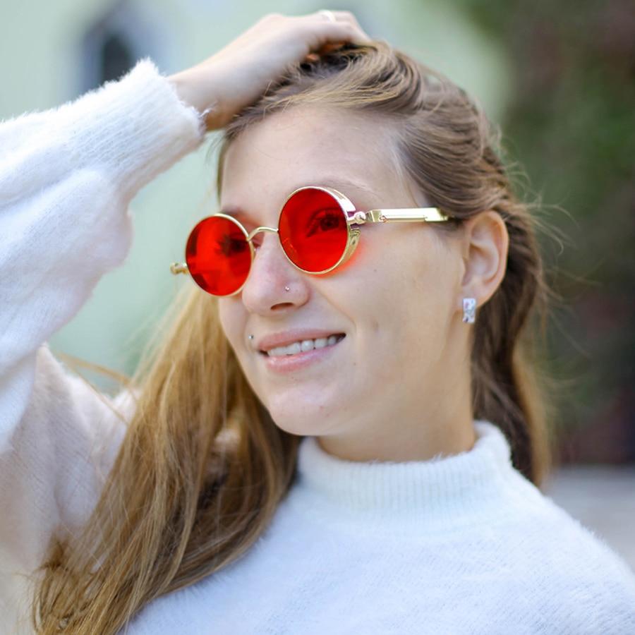 2020 Gold Metal Sunglasses Fashion Round Sun Glasses Brand Designer Vintage Glasses Steampunk Style Red Lens Mirror Shades UV400