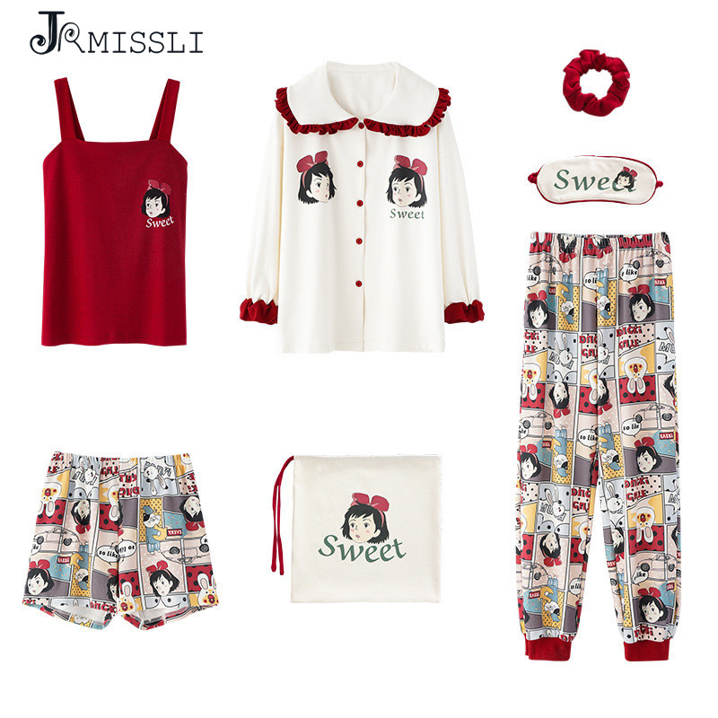 JRMISSLI Women Pajamas Set Spring 7 Piece Sets New Cotton Long Sleeve Cute Sleepwear Casual Homewear Female Pyjamas Set Leisure