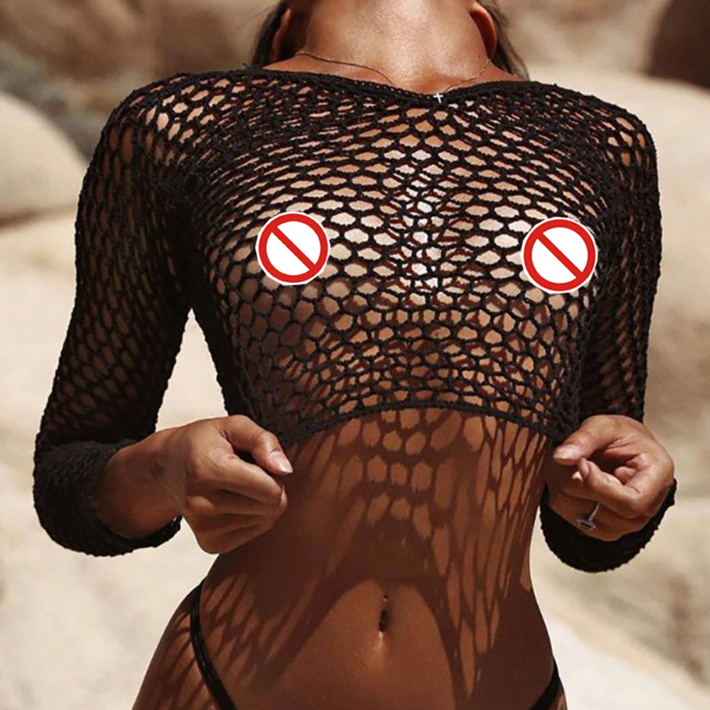 New Fishnet Mesh Bikini Cover Up Long Sleeve Beach T Shirt Hollow Out Bathing Suit Women Beachwear