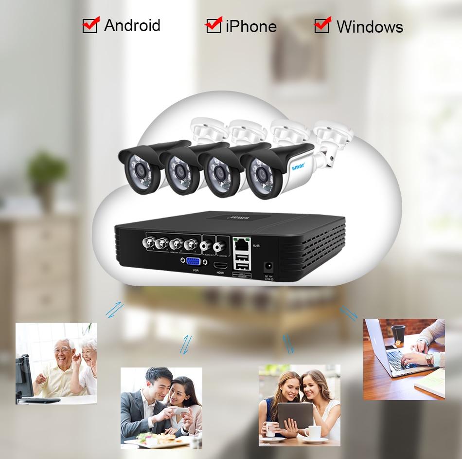Smar CCTV camera System 4CH 720P1080P AHD Security Camera DVR Kit CCTV Waterproof Outdoor Home Video Surveillance System XMEYE (9)