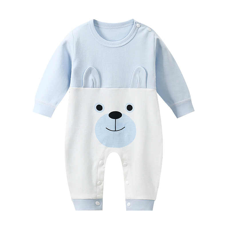 תינוק סתיו ארוך שרוול סרבל חמוד Cartoon בעלי החיים דפוס Romper תינוק רך כותנה בגדי יילוד אימונית תינוק תלבושת
