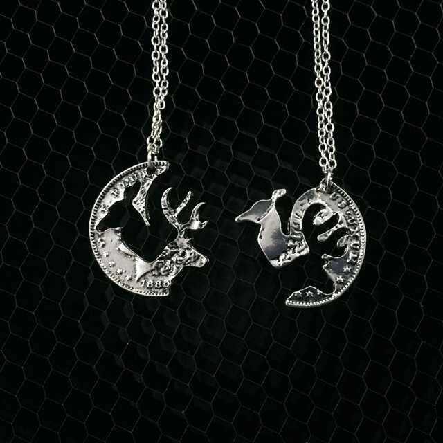 Ювелирные изделия для пар, Модные Винтажные длинные ожерелья с оленем, оленем и лосем и подвеской, подарок для мужчин и женщин
