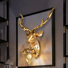 Modern Wall Lamp American Deer head Wall Lamps For Living Room Bedroom Nordic Home Art Decor E27 Gold Resin Wall Light Fixtures