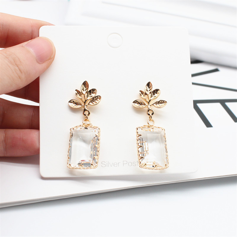 H45e9b0557f7e47d1be02ac77be50e7ff1 - Korean New Design Fashion Jewelry Double Square Earrings Luxury Transparent Glass Crystal Party Earrings for women gift