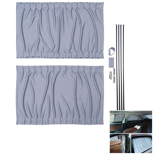2pcs 70 ซม.ผ้าม่านหน้าต่างชุดRetractable Autoผ้าม่านหน้าต่างSun Shades Blindบล็อกProtectorผ้าม่าน
