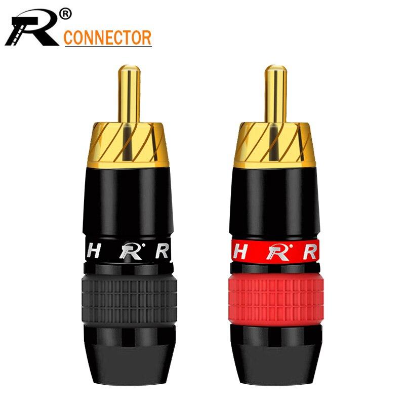 2 pces/1 par liso preto banhado a ouro rca conector rca macho plugue adaptador de vídeo/áudio fio conector suporte 6mm cabo preto e vermelho