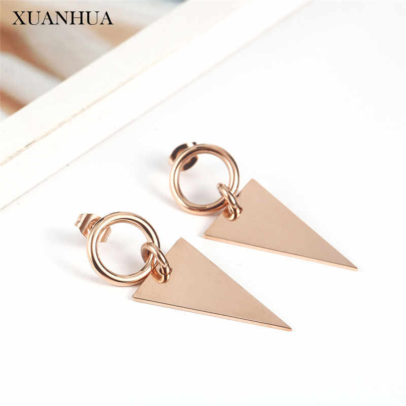 XUANHUA Stainless Steel Jewelry Rose Gold Earrings For Women Fashion Jewelry Accessories Mass Effect Free Shipping