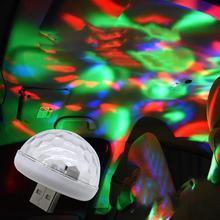 LED USB Mini aktywowana głosem kryształowa magiczna kula Led scena kula dyskotekowa projektor oświetlenie imprezowe Flash światła dj-skie tanie tanio Lampa atmosfera green red white blue 3 (W) 5 (V)