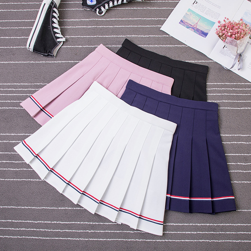 XS XXL Four Colors High Waist A Line Women Skirt Striped Stitching Sailor Pleated Skirt Elastic