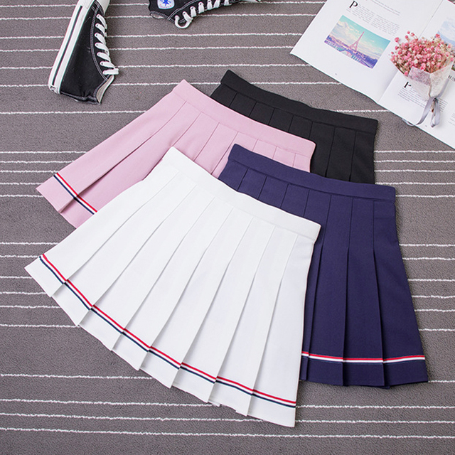 XS-XXL High Waist A-Line Women Skirt Striped Stitching Sailor Pleated Skirt Elastic Waist Sweet Girls Dance Skirt Plaid Skirt 73