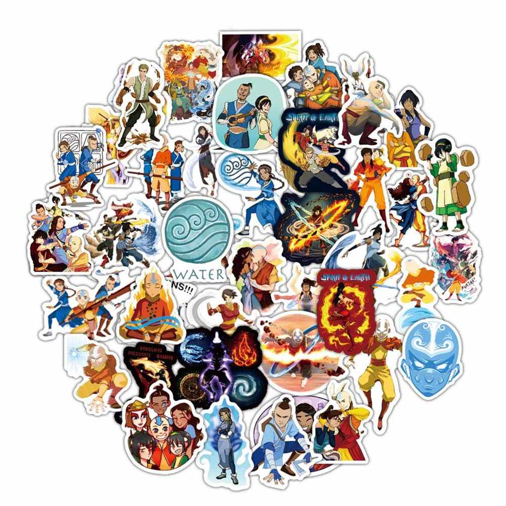 50 Stks/set Avatar The Last Airbender Stickers Anime Cartoon Sticker Funny Diy Bagage Laptop Skateboard Motorfietsfiets Sticker