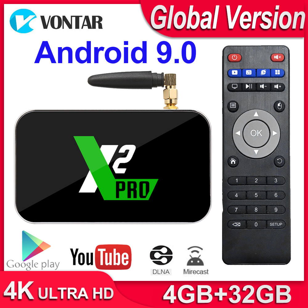 X2 Pro Smart TV Box 4GB RAM DDR4 32GB Android 9.0 TV Box S905X2 X2 cube 2GB 16GB Media Player 2,4G/5G WiFi 1000M 4K PK Ugoos x2